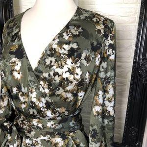 I.N.C. Women's Floral Faux Wrap Blouse